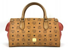 MCM Handtasche Visetos Cognac Tasche Heritage Henkeltasche Medium Boston Bag