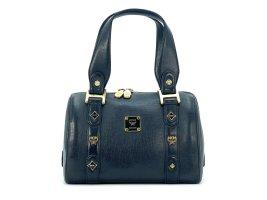 MCM Henkeltasche Leather Leder Tasche Medium Schwarz Gold Boston Bag Small