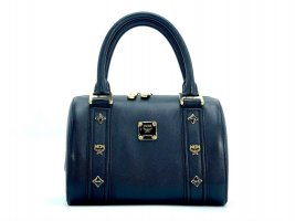 MCM Henkeltasche Leather Leder Tasche Medium Schwarz Gold Boston Bag Small