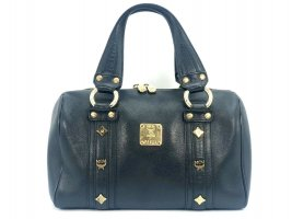 MCM Henkeltasche Leather Leder Tasche schwarz gold Boston Bag Business Bag Black