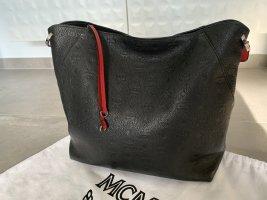 MCM Sac hobo noir-rouge foncé cuir