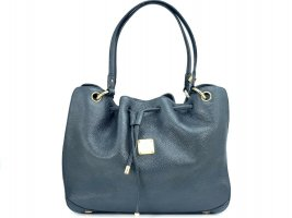 MCM Kordelzug Tasche Drawstring Bag Leder Dunkelblau Gold Shopper