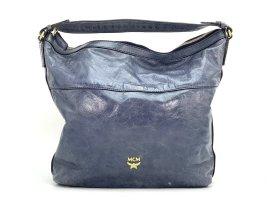 MCM Lackleder Tasche Schultertasche Dunkelblau Blau Leder Shopper Bag Blue