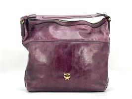 MCM Lackleder Tasche Schultertasche Pflaume Gold Leder Shopper Bag