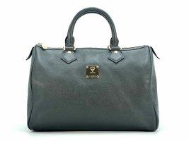 MCM Leder Boston Bag 30 Handtasche Schwarz Anthrazit Tasche Henkeltasche Logo