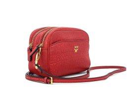 MCM Leder Crossbody Handtasche Rot Gold Tasche Bag Schultertasche Small
