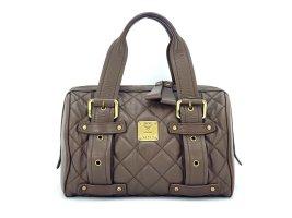 MCM Leder Handtasche Boston Bag Braun Gold Gesteppt Tasche Henkeltasche Small