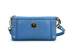 MCM Leder Handtasche Tasche Clutch Bag Blau Gold Schultertasche