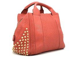 MCM Leder Handtasche Tasche Rot Gold Nieten Shopper Bag Medium Size