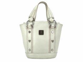 MCM Leder Henkeltasche Mini Shopper Bag Handtasche Weiß Silber Tasche Small