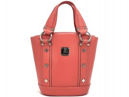 MCM Leder Henkeltasche Shopper Bag Rot Silber Tasche Small Red