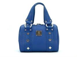 MCM Leder Henkeltasche Tasche Blau Silber Boston Bag Handtasche Small