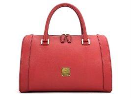 MCM Leder Henkeltasche Tasche Rot Gold Medium Shopper Boston Bag Handtasche