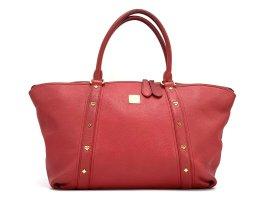 MCM Leder Henkeltasche Tasche Rot Gold Shopper Bag Schultertasche Large