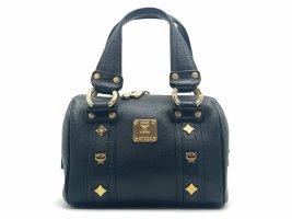 MCM Leder Henkeltasche Tasche Schwarz Gold Boston Bag Handtasche Small