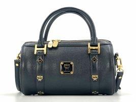 MCM Leder Henkeltasche Tasche Schwarz Gold Handtasche Umhängetasche Bag Small