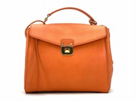 MCM Leder Henkeltasche Umhängetasche Orange Gold Handtasche Tasche