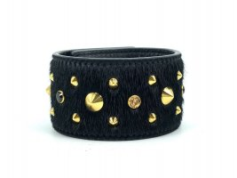 MCM Leder Nieten Armband Armreif Schwarz Black Gold Ponyhair Bag + Box + Beutel