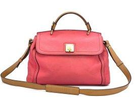 MCM Leder Schultertasche Pink Gold Hellbraun Shopper Business Bag Medium Tasche