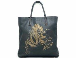 """MCM Leder Shopper Bag """"Flying Dragon Collection"""" Schwarz Gold Henkeltasche"""