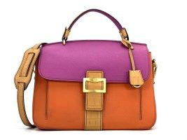 MCM Leder Tasche Henkeltasche Handtasche Schultertasche Retro Shopper Bag Orange