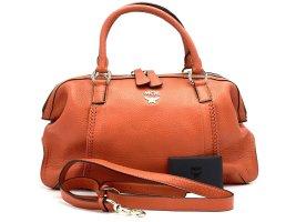 MCM Leder Tasche Orange Rot Schultertasche Handtasche 2 Way Shopper Bag