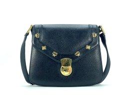 MCM Leder Tasche Schwarz Gold Schultertasche Umhängetasche Small Vintage Bag