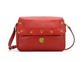 MCM Leder Umhängetasche Handtasche Tasche Rot Gold Schultertasche
