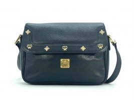 MCM Leder Umhängetasche Schultertasche Schwarz Tasche Flap Bag Vintage Black