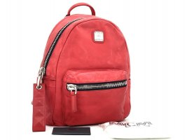 "MCM Lush Leather ""Washed Out "" Leder Rucksack Backpack Vintage Effekt Small Red"