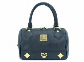 MCM mini Henkeltasche Leather Leder Tasche small schwarz gold Boston Bag