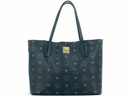 MCM Mini Shopper Bag Tasche Schultertasche Schwarz Gold Henkeltasche LogoPrint