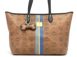 MCM Mini Shopper Tasche Schultertasche Bag Braun Gold Henkeltasche + Dog Bone