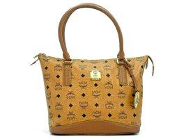 MCM Mini Shopper Tasche Schultertasche Bag Cognac + Lion Anhänger Henkeltasche