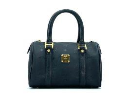 MCM Nylon Handtasche Boston Bag Schwarz Gold Tasche Henkeltasche Small