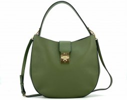 MCM Patricia Park Avenue Hobo Bag Large Loden Green Leder Grün Schultertasche