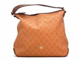 MCM PVC Schultertasche Shopper Bag Orange Braun LogoPrint Tasche Umhängetasche