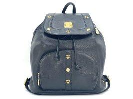 MCM Rucksack Backpack Schwarz Leder Tasche Shopper Black Leather Small Kordelzug