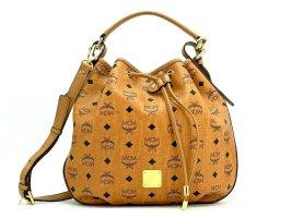 MCM Schultertasche Bucket Drawstring Bag Medium Cognac Gold Tasche Logo Print