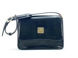 MCM Schultertasche Small Vintage Black Bag Leder Lack Schwarz Gold Tasche