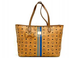 MCM Shopper Bag Cognac Tasche Handtasche Henkeltasche Bag + Dog Bone Anhänger