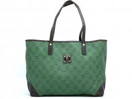 MCM Shopper Bag PVC Tasche Medium Schultertasche Henkeltasche Dunkelgrün Braun