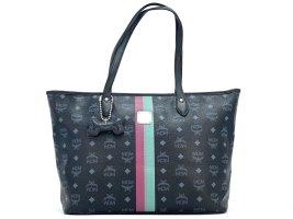 MCM Shopper Bag Schwarz Tasche Handtasche Henkeltasche Bag + Dog Bone Anhänger