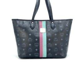 MCM Shopper Bag Small Tasche Schultertasche Schwarz Silber Henkeltasche Stripes