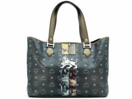 MCM Shopper Bag Tasche Handtasche Henkeltasche Schwarz Reptiloptiloptik
