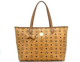 MCM Shopper Bag Tasche Handtasche Henkeltasche Visetos Cognac Medium + Dog Bone