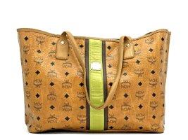 MCM Shopper Tasche Handtasche Henkeltasche Visetos Cognac Green Stripe Bag