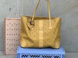 MCM Shopper Tasche Visetos Marble gelb + Anhänger