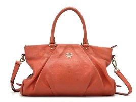 MCM Tasche Henkeltasche Rot Orange Shopper Bag LogoPrint Leder Umhängetasche