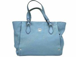 MCM Tasche Henkeltasche Schultertasche Leder Shopper Medium Bag Hellblau Blau